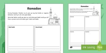 KS2 Ramadan Good Deeds and Bad Habits Activity Sheet - Ramadan, 26th May, good deeds, bad habits, changing behaviour, worksheet, reflect on behaviour, goal
