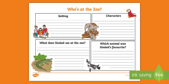 Who's at the Zoo? Story Map Activity Sheet - exploring my world, animals, crocodile, elephant, penguin, tiger, monkey, map, monorail, zookeeper,
