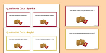 General Conversation Travel & Tourism Question Pair Cards Spanish