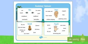Summer Senses Word Mat - summer senses, word mat, word, mat
