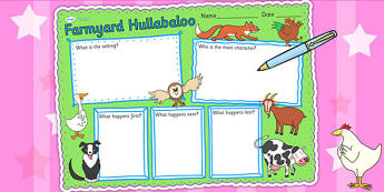 Book Review Writing Frame to Support Teaching on Farmyard Hullabaloo - farm, literacy
