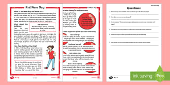 KS1 Comic Relief (Red Nose Day) Differentiated Reading Comprehension Activity - Red Nose Day, Red Nose Day 2017, Charity, Fundraising, Comic Relief, Money, Africa, United Kingdom,