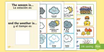 Weather and Season Display Calendar English/Spanish  - Weather And Season Calendar - season, weather, calendar, spring, summer, autumn, winter, rainy, sunn