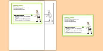 Foundation PE (Reception) - Underarm Throwing Teacher Support Card - EYFS, PE, Physical Development