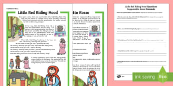 Little Red Riding Hood Differentiated Reading Comprehension Activity English/Italian - Traditional Tales Reading Comprehensions, Little Red Riding Hood, traditional tale, KS1 reading, com