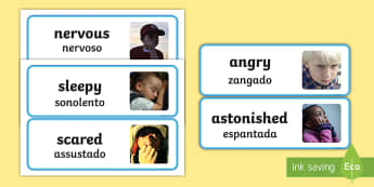Large Detailed Emotions and Feelings Photo Word Cards - English/Portuguese  - Large Detailed Emotions and Feelings Photo Word Cards - emotions, emtions, pictures of people friegh