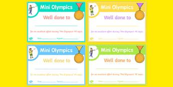 Mini Olympics Achievement Certificates - EYFS, PE, Physical Development