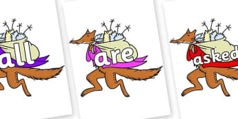 Tricky Words on Mr Fox to Support Teaching on Fantastic Mr Fox - Tricky words, DfES Letters and Sounds, Letters and sounds, display, words