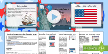 American Independence Day Assembly Pack - star spangled banner, boston tea party, pilgrims, USA, Fourth of July