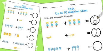 Up to 10 Addition Sheet to Support Teaching on Titch - add, adding, numeracy, stories