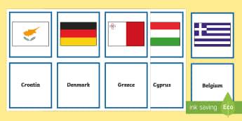 European Flags Matching Cards - Europe, European flags, Europe day, geography, European Union, flags, matching cards, European count