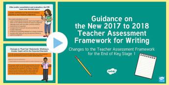 Guidance on the New 2017 to 2018 Teacher Assessment Framework for Writing KS1 PowerPoint - interim assessment, evidence, sats, judgement, teacher assessment, Y2, moderation, year 2