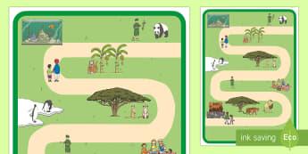 Zoo Spielmatte für Rollenspiele - Zoo, Zootiere, Tier, Tiere, Rollenspiel, Spielmatte, spielen, Gruppenspiel, zusammen spielen,German