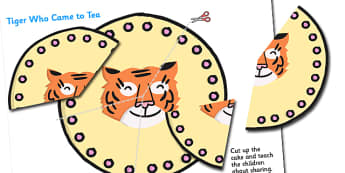 The Tiger Who Came to Tea A3 Cake Sharing Activity-the tiger who came to tea, sharing, sharing activity, A3, sharing game, games