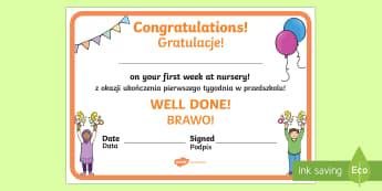 First Week Award Certificate - English/Polish - award, scroll, reward, award, certificate, medal, rewards, school reward,Polish-translation