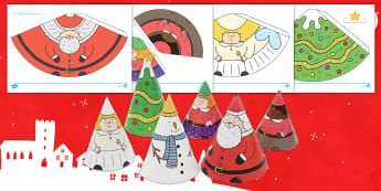 Weihnachten: Kegel-Figuren zum Basteln aus Papier