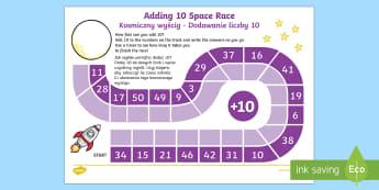 Adding 10 Space Race Activity Sheet English/Polish - adding, 10, race, worksheet, game,EAL,,Polish-translation