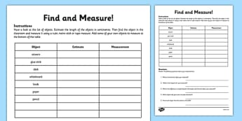 Find and Measure Classroom Objects Activity Sheet - measurement, estimate, estimation, measuring, objects, size, ruler, tape measure, classroom, maths, ks1, y1, y2, year 1, year 2, worksheet