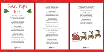 Petit Papa Noël Lyric Sheet French - french, twas the night before christmas, lyrics