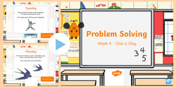 Week 6 - Problem Solving - One a Day - PowerPoint - Problem Solving, Word Problems, One Step, Two Step, Addition, Subtraction,Irish