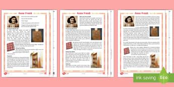 Anne Frank Differentiated Reading Comprehension Activity - Anne Frank, World War 2, reading, comprehension, History, Jew, journal, hiding, secret annexe, Nazi,