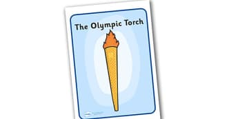 Olympic Torch Display Poster -  Olympics, Olympic Games, sports, Olympic, London, 2012, display, poster, sign, banner, activity, Olympic torch, medal, Olympic Rings, mascots, flame, compete, events, tennis, athlete, swimming
