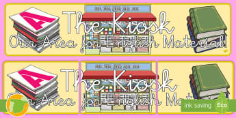 Pancarta: The Kiosk - kiosko, lengua extranjera, inglés, english, decoración, mural, ,Spanish-translation