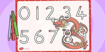 Chinese New Year Themed Number Writing Worksheet - australia