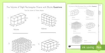The Volume of Right Rectangular Prisms Shown with Blocks Activity Sheet - right rectangular prisms, volume, cube, cubic, height, width, length
