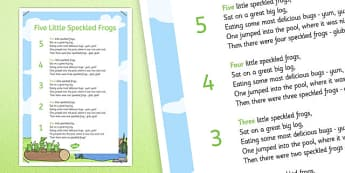 5 Speckled Frogs Nursery Rhyme Poster - 5 speckled frogs, rhyme