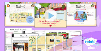 French: Let's Visit a French Town: Where Is the Library? Year 6 Lesson Pack 3