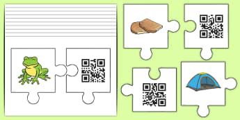 Phase 4 Jigsaw Code Hunter - QR Codes, code hunters, tablet, smart phone, scan, decode, read, reading, phonics, letters and sound