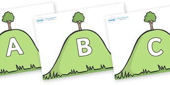 A-Z Alphabet on Hills - A-Z, A4, display, Alphabet frieze, Display letters, Letter posters, A-Z letters, Alphabet flashcards