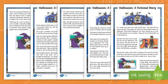 KS1 Halloween Fiction Differentiated Fact File - Blending, Fluency, 31st October, Questions, Story