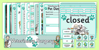 Vet's Surgery Role Play Pack - Vet Surgery, vets, role play, Display signs, display, labels, pack, vet, operation, xray, nurse, medicine, vaccine, bandage, cat, dog, rabbit