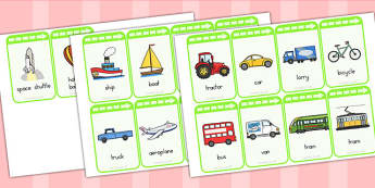 Transport Flashcards - transport, flashcard, word cards, keywords