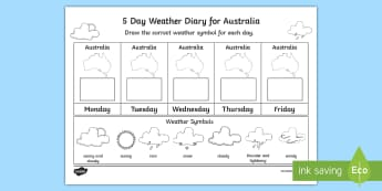 5 Day Weather Diary for Australia Activity Sheet  - weather, climate, UK, Britain, australia, map, daily, forecast, worksheet, weather symbols