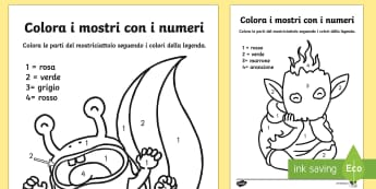 I Mostriciattoli Colora con i Numeri - mostriciattoli, mostri, colora, colori, numeri, italiano, italian