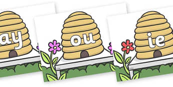 Phase 5 Phonemes on Beehives - Phonemes, phoneme, Phase 5, Phase five, Foundation, Literacy, Letters and Sounds, DfES, display