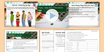 Age Lesson Pack - Secondary Transition Resources, range, age, statistics, year, days, leap year, calculations, time, m