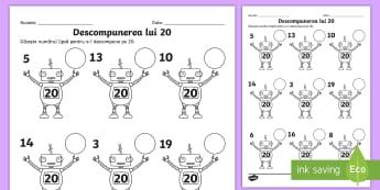 Descompunerea lui 20 Fișă de lucru - descompuneri, adunări, scăderi, exerciții, numerație,,Romanian