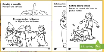 Autumn Action Colouring Pages English/French -  autumn, colouring pages, colour,fireworks,conkers