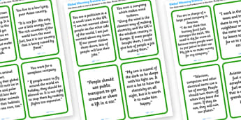 Global Warming Discussion Cards - global warming, global warming cards, global warming discussion prompts, climate change discussion promt cards, ks2