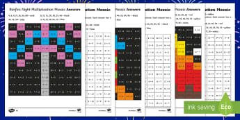 LKS2 Bonfire Night Multiplication Mosaics Differentiated Activity Sheets - times tables, calculations, year 3 times tables, year 4 times tables, times tables activities.