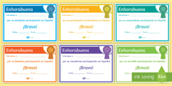 End-of-Year Contribution Award Certificates Spanish - Diploma, Achievements, Awards, End, Year, Skills, Gift, Spanish, KS3, Secondary