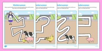 Washerwoman Pencil Control Path Activity Sheet Pack - mrs wishy washy, washerwoman, pencil control path, worksheet