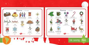 Christmas Word Mat US English/Spanish (Latin) - Christmas Word Mat - Christmas, xmas, word mat, writing aid, tree, advent, nativity, santa, father c