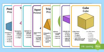 3D Shape Display Posters English/Spanish - numeracy, shapes, 3d, 3D shapes, display signs, 3D shapes posters, shapes posters, shapes display si