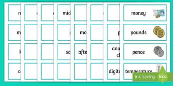 LKS2 Measurement Key Word Cards - vocab cards, maths vocab, maths vocabulary, measurement vocabulary, perimeter, area, converting meas