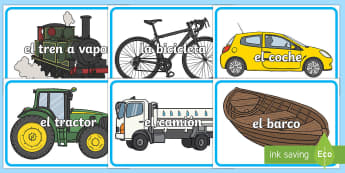 Transport Words on  Images Spanish - Spanish, Vocabulary, KS2, transport, words, images,Spanish